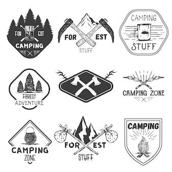 Set di etichette da campeggio in stile vintage