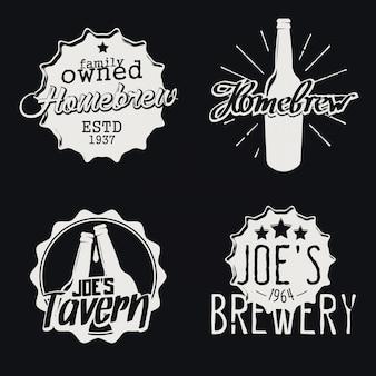 Set di etichette del birrificio. distintivi homebrew