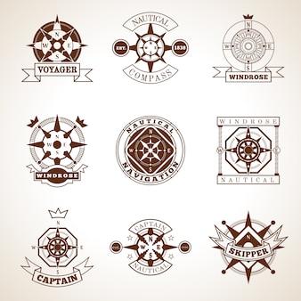 Set di etichette del compasso