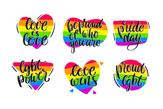 Set di etichette del giorno dell'orgoglio