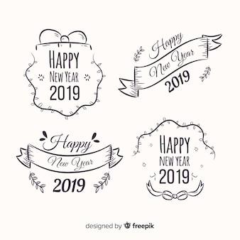 Set di etichette del nuovo anno 2019