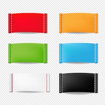 Set di etichette di abbigliamento di colore isolato su trasparente
