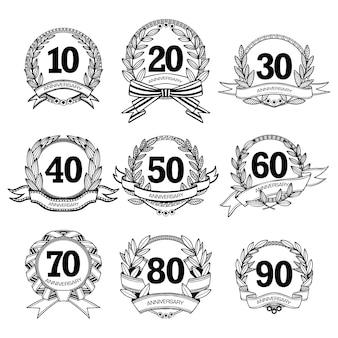 Set di etichette di anniversario