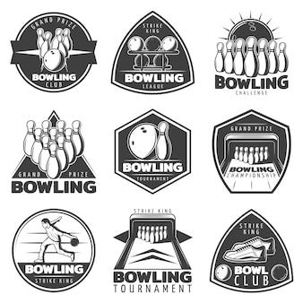 Set di etichette di bowling monocromatiche