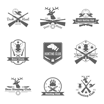 Set di etichette di caccia