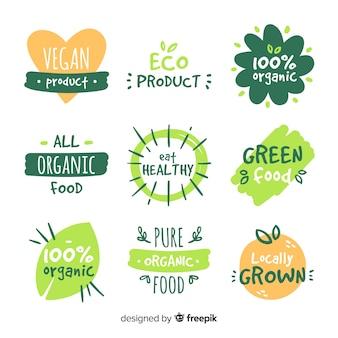 Set di etichette di cibo biologico disegnato a mano