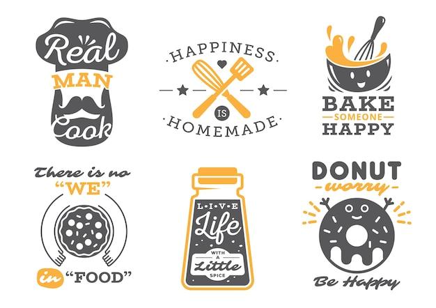 Set di etichette di citazioni di cucina, tipografia e lettering