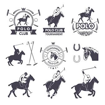 Set di etichette di competizione sportiva per giochi di polo