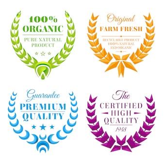 Set di etichette di corona di colore vettoriale