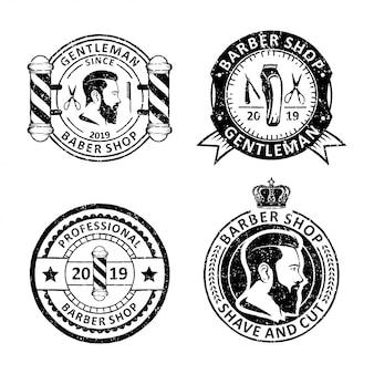 Set di etichette di distintivi di negozio di barbiere dell'annata, emblemi e logo design