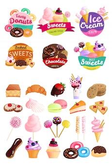 Set di etichette di dolci alla moda