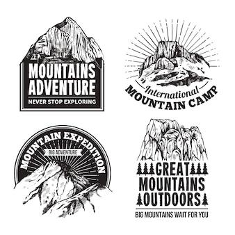 Set di etichette di emblemi del turismo