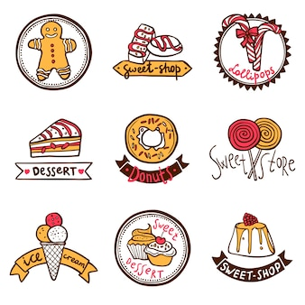 Set di etichette di emblemi negozio dolce