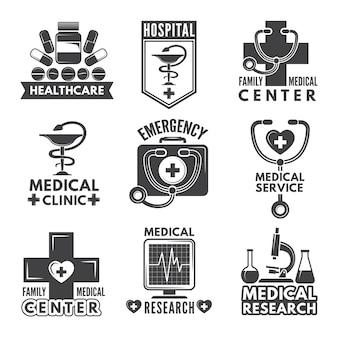 Set di etichette di farmacia, chimica o medicina.