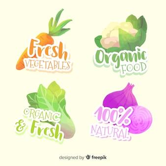 Set di etichette di frutta biologica dell'acquerello