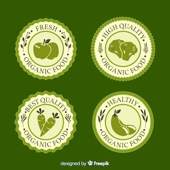 Set di etichette di frutta biologica disegnata a mano