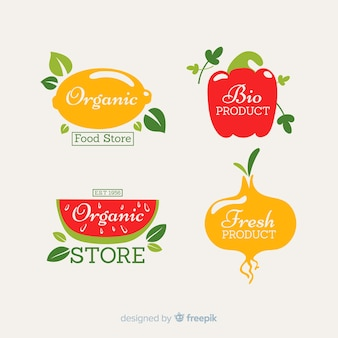 Set di etichette di frutta e verdura fresca