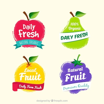 Set di etichette di frutta fantastiche