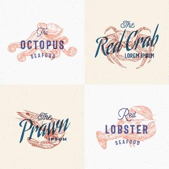 Set di etichette di frutti di mare. carte effetto stampa retrò.