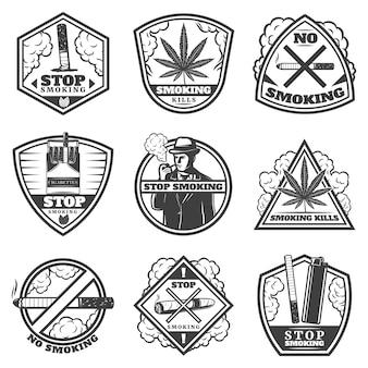 Set di etichette di fumo vintage stop