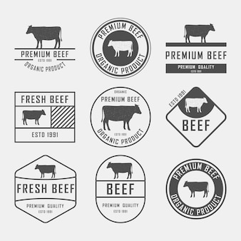 Set di etichette di manzo premium, distintivi ed elementi di design. illustrazione.