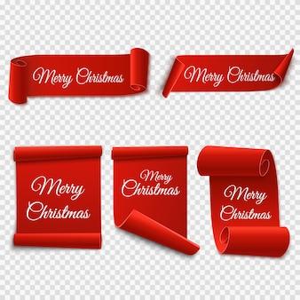 Set di etichette di natale. rotoli e striscioni rossi isolati. etichette di buon natale e felice anno nuovo. illustrazione