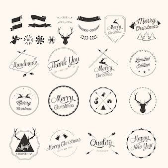 Set di etichette di natale