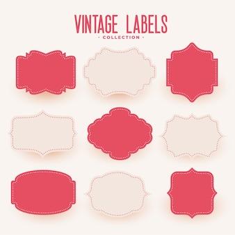 Set di etichette di nozze stile vintage vuoto di nove