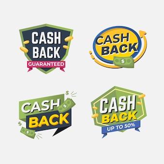 Set di etichette di offerta cashback