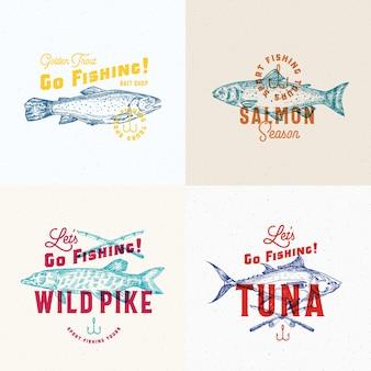 Set di etichette di pesca.