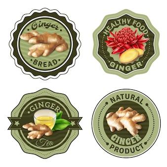 Set di etichette di prodotti allo zenzero