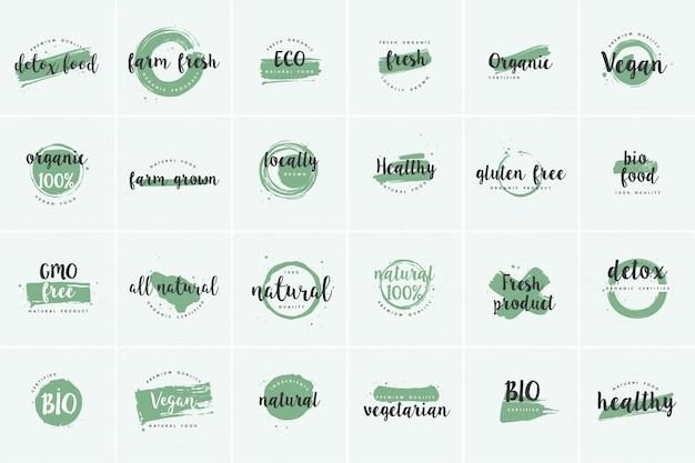 Set di etichette di prodotti biologici, freschi e naturali dell'azienda agricola