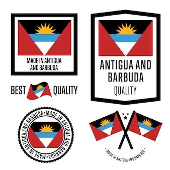 Set di etichette di qualità antigua e barbuda