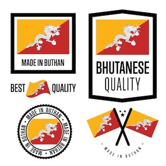 Set di etichette di qualità bhutan