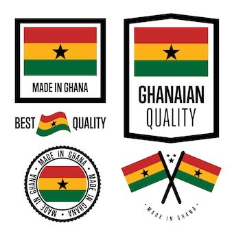 Set di etichette di qualità ghana