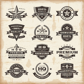 Set di etichette di qualità premium vintage