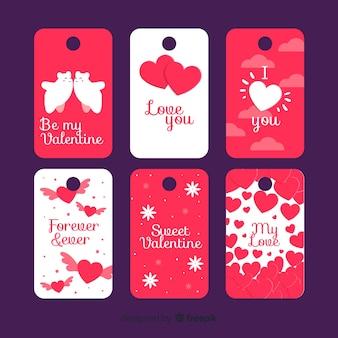 Set di etichette di san valentino piatto
