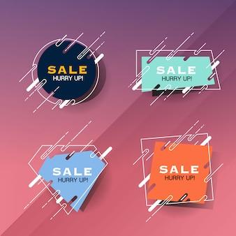 Set di etichette di vendita astratta