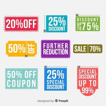 Set di etichette di vendita coupon