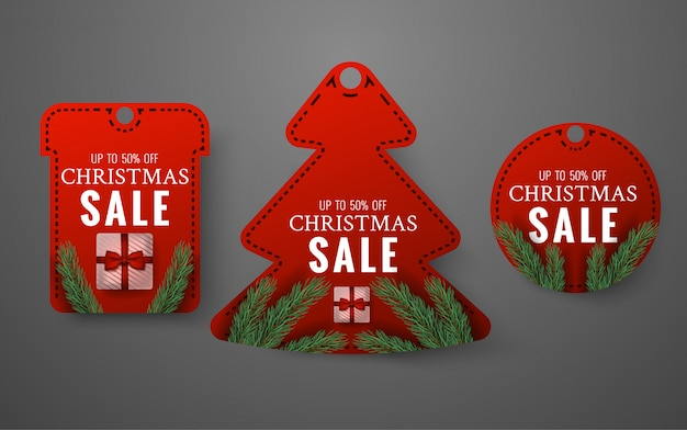Set di etichette di vendita di buon natale