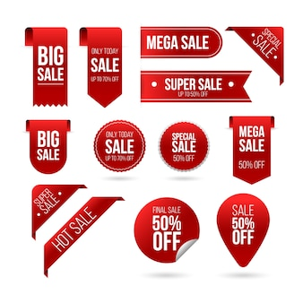 Set di etichette di vendita realistico