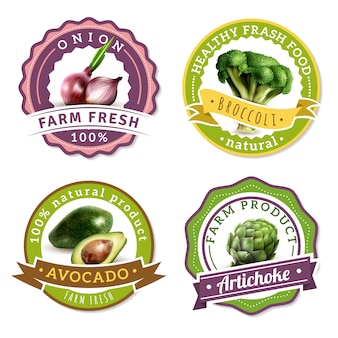 Set di etichette di verdure