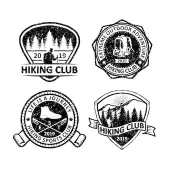 Set di etichette distintivi all'aperto d'epoca, emblemi e logo