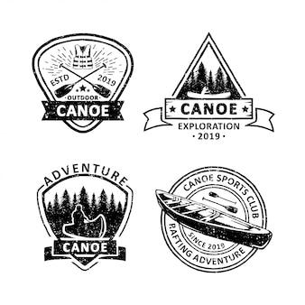 Set di etichette distintivi di canoa d'epoca, emblemi e logo