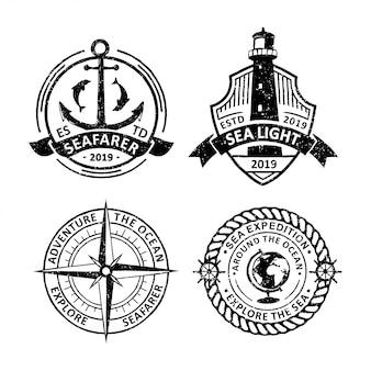 Set di etichette distintivi di vela d'epoca, emblemi e logo