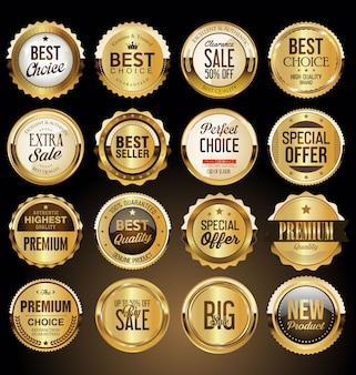 Set di etichette e distintivi d'oro premium
