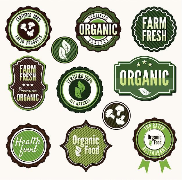 Set di etichette e distintivi di alimenti freschi biologici e agricoli