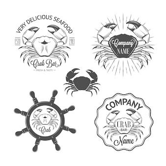 Set di etichette e distintivi di frutti di mare d'epoca con granchi