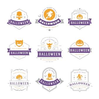 Set di etichette e distintivi di halloween felice