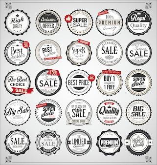 Set di etichette e distintivi vintage retrò